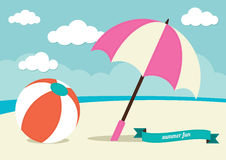 Beach Ball and Sun Umbrella Royalty Free Stock Photo