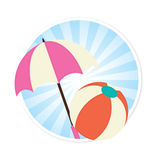 Beach Ball and Sun Umbrella Illustration Stock Photo