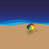Beach ball, sun umbrella, sea & waves - vector graphic Stock Images
