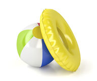 Beach ball and swim ring Stock Photography