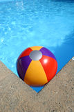 Beach Ball in Swimming Pool. Multi-colored Beach ball in swimming pool corner Stock Image