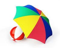 Beach ball umbrella beach Stock Photography