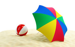 Beach ball umbrella beach Stock Photo