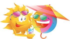 Beach Ball With The Sun Stock Image