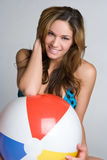 Beach Ball Woman Royalty Free Stock Images