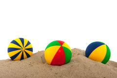 Beach balls. Colorful toy balls in the sand from beach Stock Image