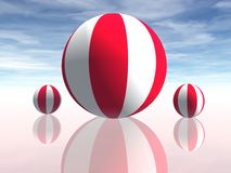 BEACH BALLS. 3D on a calm sea Stock Photography