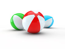 Beach balls. Isolated on white background 3d render Royalty Free Stock Images