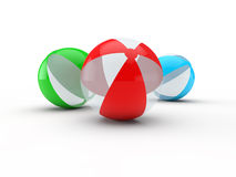 Beach balls. Isolated on white background 3d render Stock Photos