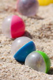 Beach balls. Colored marbles for games on the beach Royalty Free Stock Photos