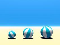 Beach balls. Beach Ball 3D on a calm sand Royalty Free Stock Images