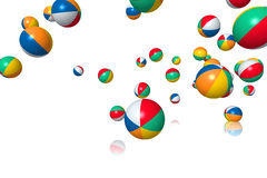 Beach balls bouncing. On white background stock images