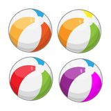 Beach balls in four different colors. Cartoon style vector illustration