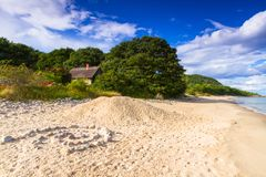 Beautiful coastline of Baltic sea. Beach at Baltic sea in summer time, Sweden Royalty Free Stock Photos