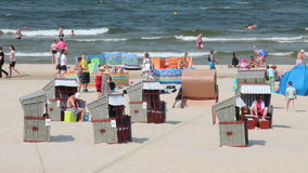 Beach on Baltic sea in Swinoujscie, Poland stock footage