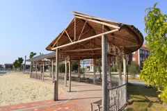Beach bamboo pavilion  promenade Stock Images