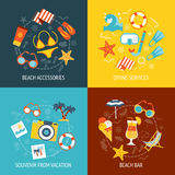 Beach Banner Accessories Flat Set Royalty Free Stock Image