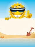 Beach banner. Illustration of a Cartoon sun character holding a banner in the beach Royalty Free Stock Images