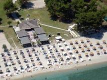 Beach bar aerial. Aerial view of beach bar royalty free stock photography