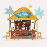 Beach bar  with bartender character. cafe-bar bungalows  Royalty Free Stock Image