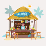 Beach bar with bartender character. cafe-bar bungalows  Royalty Free Stock Photography
