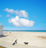 Beach bar and bike in Alghero shore Royalty Free Stock Images