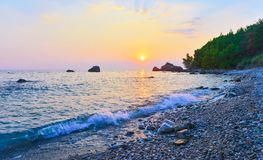 Beach of Bar city at sunset,Montenegro. Beautiful evening seascape in summer seaside resort stock images