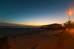 Beach bar on a clear night in Alghero Royalty Free Stock Photography