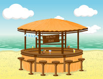 Beach bar on the coastline. Vector illustration Stock Images