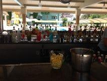 Beach bar with drinks . stock image