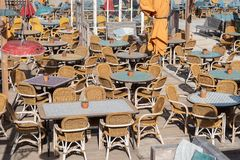 Beach bar full with seating stock images
