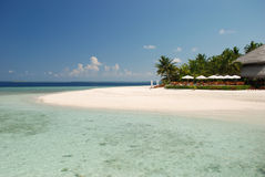 Beach Bar in the Maldives. A view of the beautiful tropical island of Filitheyo, Maldives Royalty Free Stock Photo