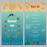 Beach bar menu design. Beach bar menu design on the turquoise background with seashells and pizza.  Cocktail and Snack menu. Vector illustration. Hand drawn Royalty Free Stock Photography
