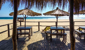 Beach bar in Mozambique. Beach bar view towards the ocean in Mozambique, Africa Royalty Free Stock Images