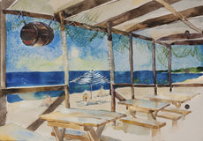 Beach bar near the sea watercolor. Beach bar near the sea with tables and benches and hanging barrel original watercolor landscape Stock Photo