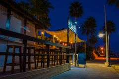 Beach bar at night. Royalty Free Stock Image