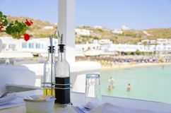 Beach bar restaurant, Mykonos Royalty Free Stock Photo