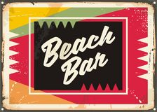 Beach bar retro sign. Board with colorful background. Vintage vector summer illustration. Document template Royalty Free Stock Image