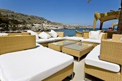 Beach bar at Rhodes island, Greece Stock Photos