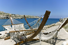 Beach bar at Rhodes island, Greece Royalty Free Stock Image