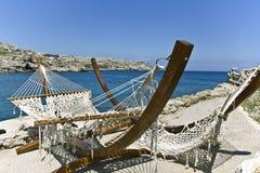 Beach bar at Rhodes island, Greece. Beach bar at Rhodes island in Greece royalty free stock image