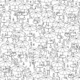 Beach bar seamless pattern in black and white Royalty Free Stock Images