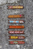 Beach Bar sign on pebble dashed wall royalty free stock photography
