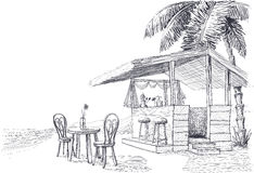 Beach bar sketch Stock Images