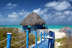 Beach bar, south coast of Cuba. The beach in Cuba on a beautiful summer day. Photo taken on: March 2017 stock image