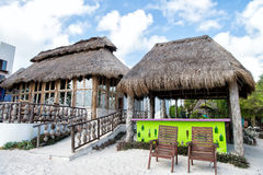 Beach bar with straw roof Stock Photos