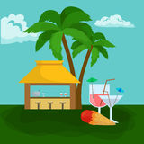 Beach bar. Summer tropical  under the palm tree with ice cream and cockteils,  drinks in vocation. Relax in traveling on Royalty Free Stock Images