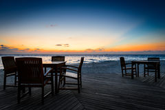 Beach Bar Sunset. On the Maldives Stock Image