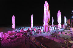 Beach bar in Tel Aviv by night. Israel Royalty Free Stock Photo