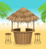 Beach Bar Thatch. Outdoor Background with Lounge Cafe. Illustration Beach Bar Thatch. Outdoor Background with Lounge Cafe. Summer Time. Vacation - Vector Stock Photos
